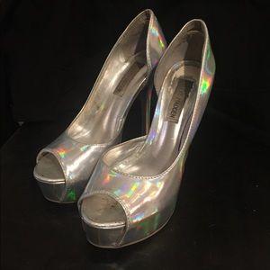 Steve Madden Silver Platform Heels